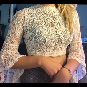 Forever 21 Lace Mock Neck Crop Top